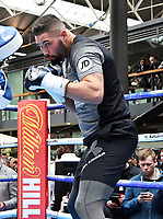 David Haye, British boxer, who's won the major world cruiserweight titles and The World Boxing Association (WBA) World Heavyweight Championship and Tony Bellew, Liverpudlian boxer Bellew take part in media workout ahead of their fight on Saturday, at Spitalfields Market, London, England on May 02, 2018<br /> CAP/JOR<br /> &copy;JOR/Capital Pictures /MediaPunch ***NORTH AND SOUTH AMERICAS ONLY***