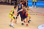 XXXVIII Lliga Nacional Catalana ACB 2017.<br /> FC Barcelona Lassa vs BC Morabanc Andorra: 89-70.<br /> John Shurna vs Petteri Koponen.