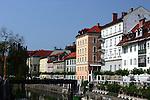Buildings along the Ljubljanica River in Ljubljana, Slovenia.