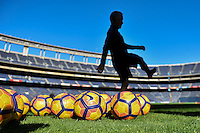 San Diego, CA - Saturday January 28, 2017: Nike balls, Richie Williams during a USMNT practice at Qualcomm Stadium.