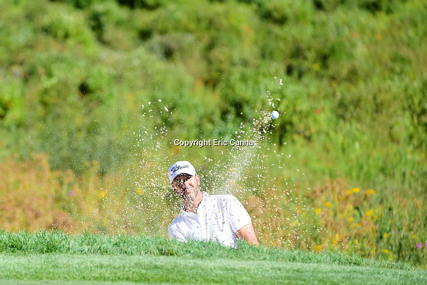 Friday, September 2, 2016: Scott Piercy watches his shot out of the green side bunker on the on the third green during the first round of the Deutsche Bank Championship tournament held at the Tournament Players Club, in Norton, Massachusetts.  Eric Canha/Cal Sport Media