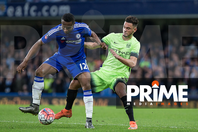 Mikel John Obi of Chelsea holds off David Faupala of Man City during the FA Cup 5th round match between Chelsea and Manchester City at Stamford Bridge, London, England on 21 February 2016. Photo by Andy Rowland.