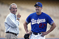 Former Los Angeles Dodgers pitcher Sandy Koufax talks with Dodgers pitcher Kevin Brown before a 2002 MLB season game at Dodger Stadium, in Los Angeles, California. (Larry Goren/Four Seam Images)