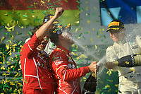 March 26, 2017: Luigi Fraboni and Sebastian Vettel (DEU) #5 from the Scuderia Ferrari team celebrates his win at the 2017 Australian Formula One Grand Prix at Albert Park, Melbourne, Australia. Photo Sydney Low