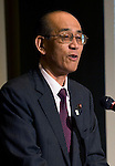 Food Summit in Sendai, Miyagi Prefecture, Japan on 30 Nov. 2011. .Photographer: Robert GilhoolyTetsuo Morimoto, Parliamentary secretary of the Ministry of Agriculture, Fishery and Forestry, speaks  at the Food Summit in Sendai, Miyagi Prefecture, Japan on 30 Nov. 2011. .Photographer: Robert GilhoolyTetsuo Morimoto, parliamentary secretary of the Ministry of Agriculture, Fishery, and Forestry speaks at the Food Industry Summit 2011 in Sendai, Japan on November 30, 2011. .Photographer: Robert Gilhooly