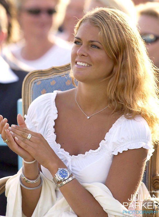 CONCERT IN BERGHOLM TO CELEBRATE CROWN PRINCESS VICTORIA.OF SWEDEN'S 25TH BIRTHDAY.  14/7/02 . PICTURE: UK PRESS  (ref 5105-46).PRINCESS MADELEINE OF SWEDEN.