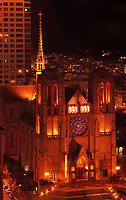 Nighttime aerial view of Grace Cathedral, Nob Hill,  San Francisco, California