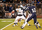 November 12, 2011: Hawaii quarterback Bryant Moniz drops back to pass in the first quarter during a WAC league game vs Nevada played at Mackay Stadium in Reno, Nevada.