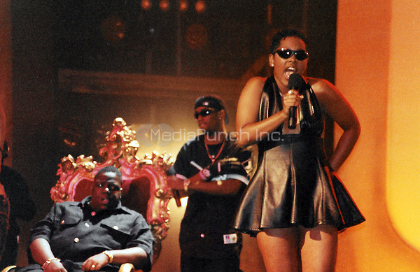 NEW YORK, NY - AUGUST 3:  ***HIGHER RATES APPLY*** Biggie Smalls, Puff Daddy andKeshia of Total at the 1995 Source Awards at Madison Square Garden in New York City on August 3, 1995. Credit: Walik Goshorn/MediaPunch