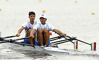 Poznan, POLAND.  2006, FISA, Rowing, World Cup,  ITA LM2X . bow  Marcello MIANI and  Elia LUINI, move  away from  the  start, on the Malta  Lake. Regatta Course, Poznan, Thurs. 15.06.2006. © Peter Spurrier   ..[Mandatory Credit Peter Spurrier/ Intersport Images] Rowing Course:Malta Rowing Course, Poznan, POLAND