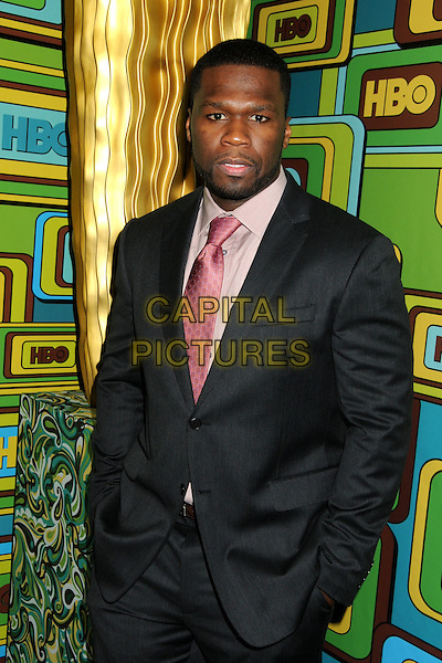CURTIS JACKSON aka 50 Cent.HBO 2011 Post Golden Globe Awards Party held at The Beverly Hilton Hotel, Beverly Hills, California, USA..January 16th, 2011.half length black grey gray suit pink tie shirt hands in pockets beard facial hair .CAP/ADM/BP.©Byron Purvis/AdMedia/Capital Pictures.