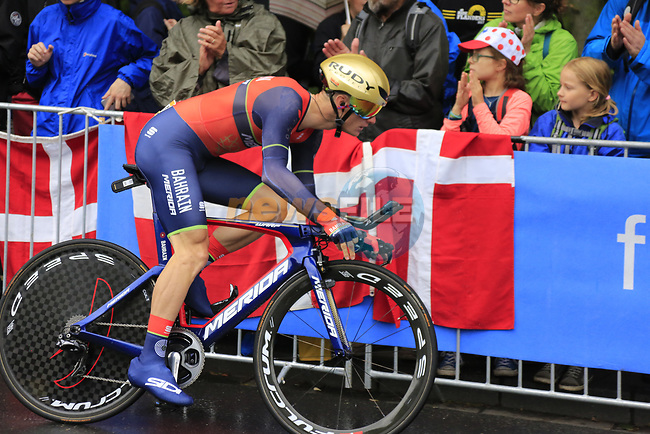 Grega Bloe (SVO) Bahrain-Merida in action during Stage 1, a 14km individual time trial around Dusseldorf, of the 104th edition of the Tour de France 2017, Dusseldorf, Germany. 1st July 2017.<br /> Picture: Eoin Clarke | Cyclefile<br /> <br /> <br /> All photos usage must carry mandatory copyright credit (&copy; Cyclefile | Eoin Clarke)