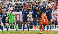 Cleveland, Ohio - Tuesday June 12, 2018: Christen Press, Carli Lloyd, Lindsey Horan, Allie Long, Yao Wei during an international friendly match between the women's national teams of the United States (USA) and China PR (CHN) at FirstEnergy Stadium.