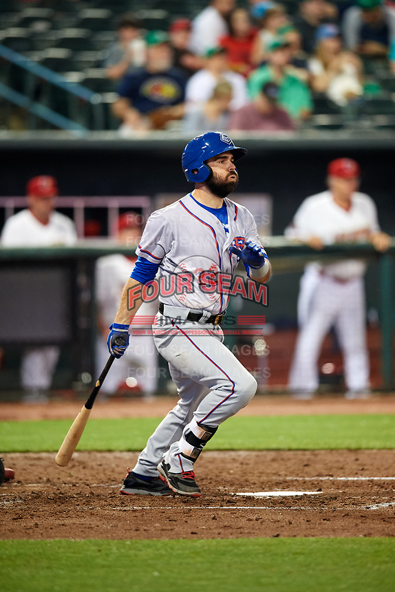 Round Rock Express designated hitter Brett Nicholas (22) follows through on a swing during a game against the Memphis Redbirds on April 28, 2017 at AutoZone Park in Memphis, Tennessee.  Memphis defeated Round Rock 9-1.  (Mike Janes/Four Seam Images)