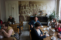 "Visitors enjoy afternoon tea at the ""Every Man's Club"" at Talbot House in Poperinge, West Flanders, Belgium, August 27, 2014. During World War I, the British Army chaplains Neville Talbot and Philip ""Tubby"" Clayton opened the club that provided rest and recreation to all soldiers coming in, regardless of their rank. 2014 marks 100th anniversary of the Great War."