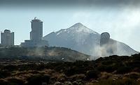 Observatory against the background of Mount Teide.Parque nacional de las Cañadas,Tenerife, Canary Islands, Spain