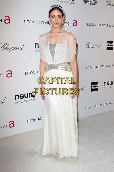 Emmy Rossum.The 21st Annual Elton John AIDS Foundation Academy Awards Viewing Party held at The City of West Hollywood Park in West Hollywood, California, USA..February 24th, 2013.oscars full length dress white sheer pearls silver belt hairband.CAP/ADM/KB.©Kevan Brooks/AdMedia/Capital Pictures.