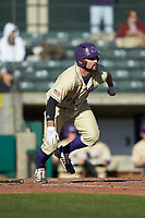 Luke Robinson (38) of the Western Carolina Catamounts starts down the first base line against the Saint Joseph's Hawks at TicketReturn.com Field at Pelicans Ballpark on February 23, 2020 in Myrtle Beach, South Carolina. The Hawks defeated the Catamounts 9-2. (Brian Westerholt/Four Seam Images)