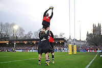 Bath Rugby replacement Levi Douglas wins the ball on the sidelines. Aviva Premiership match, between Bath Rugby and Worcester Warriors on December 27, 2015 at the Recreation Ground in Bath, England. Photo by: Patrick Khachfe / Onside Images