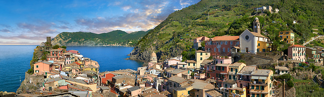 Fishing village of Vernazza at sunrise, Cinque Terre National Park, Ligurian Riviera, Italy. A UNESCO World Heritage Site