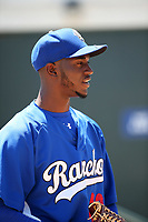 Yadier Alvarez (40) of the Rancho Cucamonga Quakes warms up in the bullpen before pitching against the Stockton Ports at LoanMart Field on May 28, 2017 in Rancho Cucamonga, California. Stockton defeated Rancho Cucamonga, 7-4. (Larry Goren/Four Seam Images)