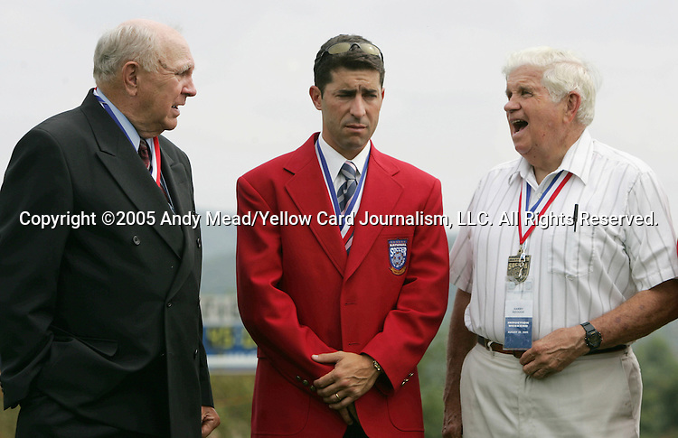 Tab Ramos (center), a 2005 inductee, is flanked by Hall of Fame members of the famed 1950 U.S. World Cup team Walter Bahr (l) and Harry Keough (r) on Monday, August 29, 2005, in the Hall of Fame game played after the 2005 National Soccer Hall of Fame Induction Ceremony in Oneonta, New York. The Colorado Rapids defeated DC United 6-2.