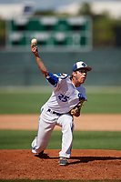 Nico Saldias during the WWBA World Championship at the Roger Dean Complex on October 19, 2018 in Jupiter, Florida.  Nico Saldias is a right handed pitcher from Ajax, Ontario who attends Pickering High School.  (Mike Janes/Four Seam Images)