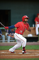 Harrisburg Senators outfielder Brian Goodwin (15) at bat during a game against the New Hampshire Fisher Cats on July 21, 2015 at Metro Bank Park in Harrisburg, Pennsylvania.  New Hampshire defeated Harrisburg 7-1.  (Mike Janes/Four Seam Images)