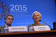 Washington, DC - April 16, 2015: Christine Lagarde, Managing Director of the International Monetary Fund, holds a press availability April 16, 2015 at the International Monetary Fund Headquarters in the District of Columbia during the annual Spring Meeting of the World Bank Group/IMF. At left, David Lipton, First Deputy Managing Director, IMF. (Photo by Don Baxter/Media Images International)