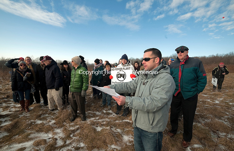 OXFORD,  CT-011415JS08- Andy Bazinet, Project Manager for the CPV Towantic Energy Center in Oxford, answers questions during a field review by members of the Siting Council at the site on Thursday. <br />  Jim Shannon Republican-American