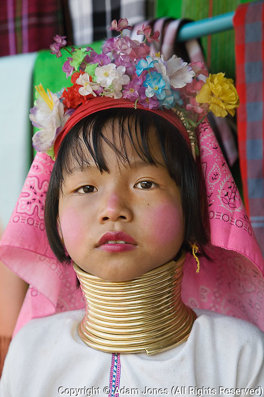 Young Paduang girl, or Long Neck Karen hilltribe, near Chiang Rai, Thailand.