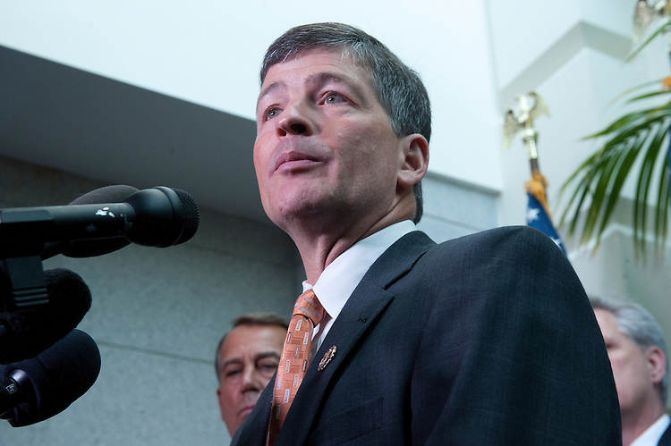 UNITED STATES - July 7: Jeb Hensarling, R-Texas, speaks to the press after the House Republican Conference in the U.S. Capitol. He is flanked by Speaker of the House John Boehner, R-Ohio, and House Majority Whip Rep. Kevin McCarthy, R-Calif.(Photo By Douglas Graham/Roll Call)