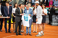 Carlos Santana, Emilio Butrageno and Rafa Nadal during Mutua Madrid Open 2018 at Caja Magica in Madrid, Spain. May 10, 2018. (ALTERPHOTOS/Borja B.Hojas) /NORTEPHOTOMEXICO