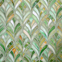 Margot, a handmade mosaic designed by Sara Baldwin for New Ravenna, is shown in Emerald jewel glass.<br /> <br /> For pricing samples and design help, click here: http://www.newravenna.com/showrooms/