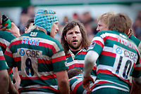 Martin Castrogiovanni looks on in a team huddle as Leicester concede a score to Bath. Guinness Premiership match between Leicester Tigers and Bath on April 3, 2010 at Welford Road in Leicester, England. [Mandatory Credit: Patrick Khachfe/Onside Images]