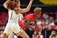 College Park, MD - March 23, 2019: Radford Highlanders guard Destinee Walker (10) is guarded by Maryland Terrapins forward Shakira Austin (1) during first round action of game between Radford and Maryland at Xfinity Center in College Park, MD. Maryland defeated Radford 73-51. (Photo by Phil Peters/Media Images International)
