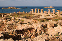 Apollonia, Susa, Libya -- Roman Baths, Mediterranean in Background