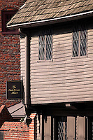 Paul Revere House Boston MA; on the red brick Freedom Trail in North Boston