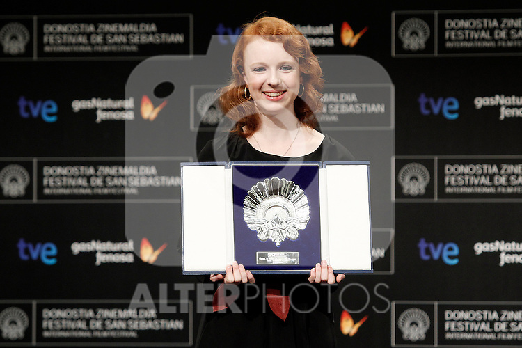 Canadian actress Katie Coseni receives the Silver Shell award for best actress during the Awards Gala in the 60th San Sebastian Donostia International Film Festival - Zinemaldia.September 29,2012.(ALTERPHOTOS/ALFAQUI/Acero)