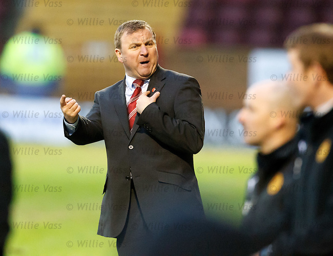 Hamilton manager Billy Reid questions a decision against his team