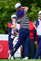 Brooks Koepka (USA) watches his tee shot on 10 during the practice round at the Ryder Cup, Hazeltine National Golf Club, Chaska, Minnesota, USA.  9/29/2016<br /> Picture: Golffile | Ken Murray<br /> <br /> <br /> All photo usage must carry mandatory copyright credit (&copy; Golffile | Ken Murray)