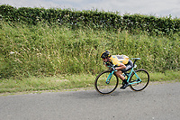 Primoz Roglic (SVK/LottoNL-Jumbo) maximising his efforts to stay with the race leaders<br /> <br /> Ster ZLM Tour (2.1)<br /> Stage 4: Hotel Verviers &gt; La Gileppe (Jalhay)(190km)