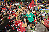Portland, Oregon - Sunday September 11, 2016: Portland Thorns FC goalkeeper Michelle Betos (18) with fans during a regular season National Women's Soccer League (NWSL) match at Providence Park.
