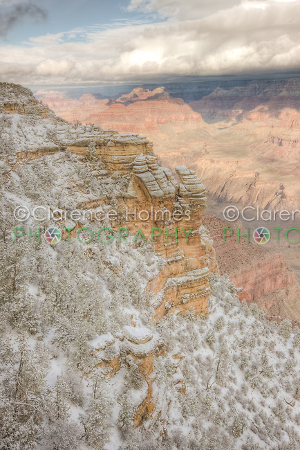 Grand Canyon view from Mather Point after a heavy winter snowfall