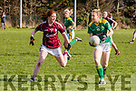 Laura Rogers (Kerry) in action with Sarah Lynch (Galway) in the Lidi Ladies National Football League Division 1 at Finuge GAA Grounds on Sunday.