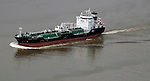 Aerial view oil Tanker on the Delaware River