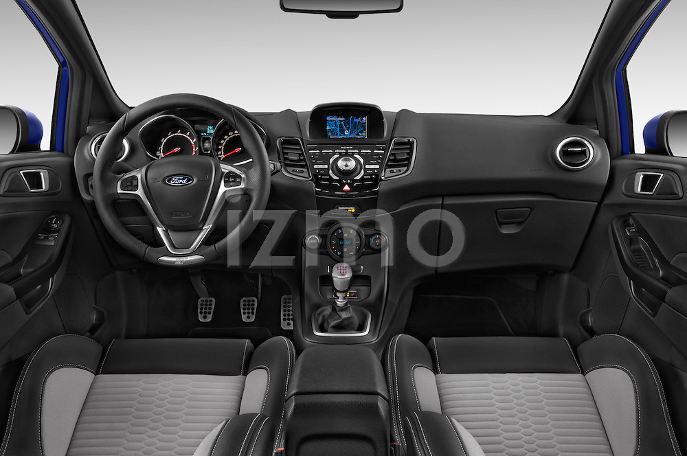 Stock photo of straight dashboard view of a 2014 Ford FIESTA ST MT 2WD 3 Door Hatchback 2WD Dashboard
