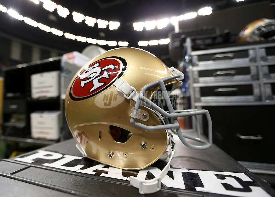 Feb 3, 2013; New Orleans, LA, USA; A helmet for the San Francisco 49ers on the sideline before Super Bowl XLVII against the Baltimore Ravens at the Mercedes-Benz Superdome. Mandatory Credit: Mark J. Rebilas-
