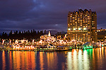 Christmas light display along to boardwalk of Lake Coeur d'Alene.