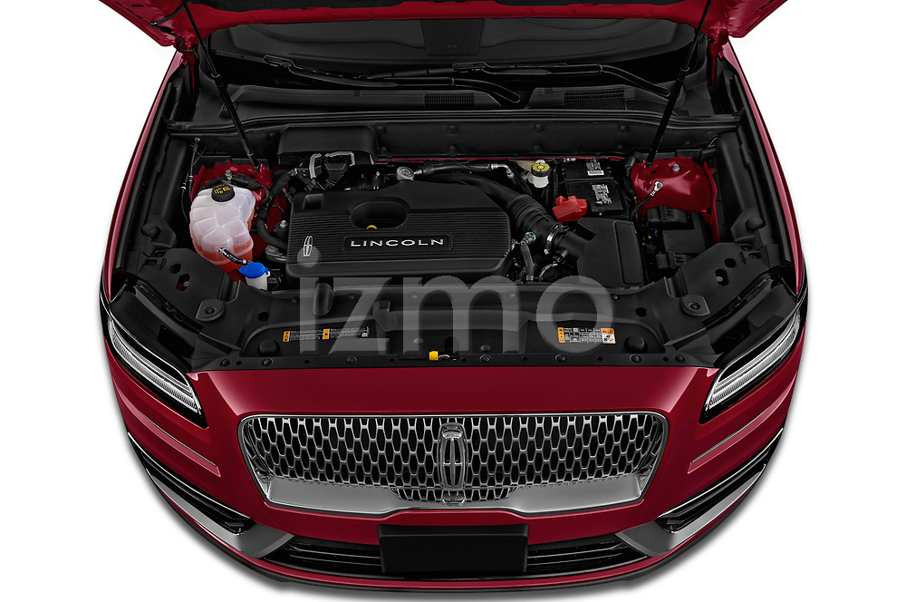 Car stock 2019 Lincoln Nautilus Select 5 Door SUV engine high angle detail view